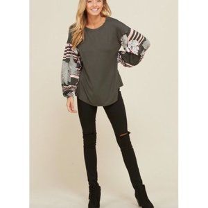 Annabelle Tops - Olive Knit Top w/ Contrast Sleeves